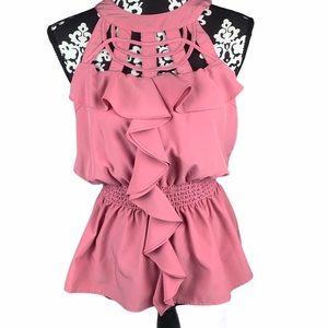 Akira Top Peplum Pink Ruffled Sleeveless Blouse